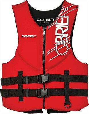 O'Brien Traditional Neoprene Hinge Watersports Buoyancy Impact Vest, Red. 56406