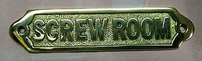 Brass Sign ~ Screw Room Door Plaque~ Nautical Ship Boat Beach Boat