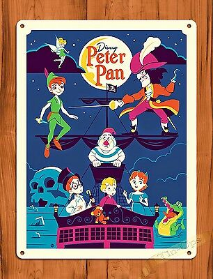 TIN SIGN Disney's Peter Pan's Flight Attraction Movie Ride Art Poster