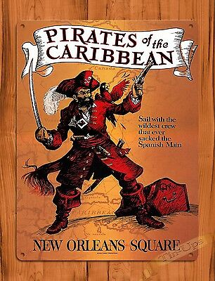 TIN SIGN Disney Pirates Of The Caribbean New Orleans Square Ride Art Poster