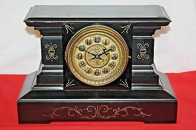 Antique Ingraham Mantle Clock with Key, Weighs 17.5 lbs, Estimated late 1800s
