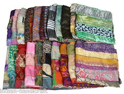 10 Vintage Silk Sari Recycled Scarves Stoles Patchwork scarf lot Wholesale SC65