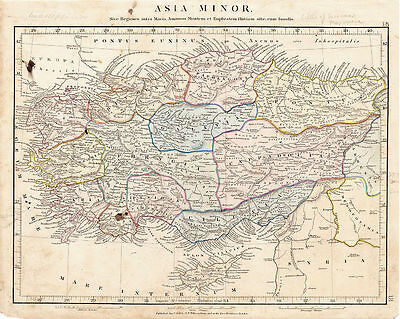 Antique Map of Asia Minor by Aaron Arrowsmith. Hand Colored. 1841.