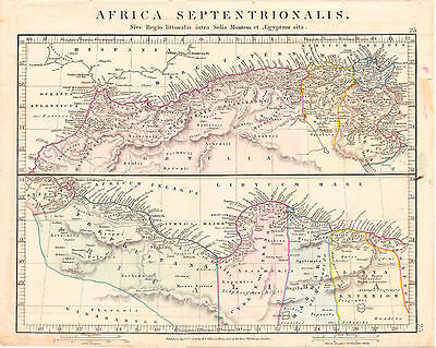 Antique Map of Ancient North Africa by Aaron Arrowsmith. Hand Colored. 1841.