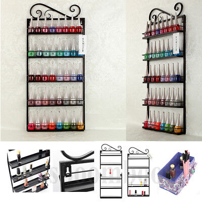 5 Tier Metal Wire Makeup Nail Polish Organizer Wall Rack Stand Display Holder US