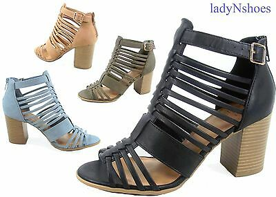 NEW Women's Strappy Ankle Strap Gladiator Chunky Heel Sandal Shoes Size 5.5 - 11