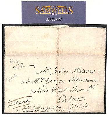 MS1431 1805 GB COACH LETTER *White Hart Inn* Calne Wilts Carried FREE + Articles