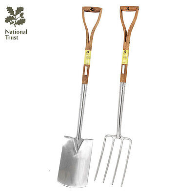 Bentley National Trust Stainless Steel Yd Digging Spade Fork Gardening Tool Set