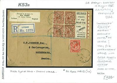 K53b	1924	Inverted Advert Format Booklet Pane/Sweden