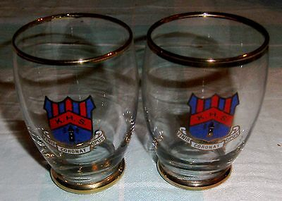 pair of vintage drinking glasses KEMPSEY HIGH SCHOOL australiana
