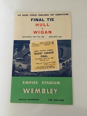 HULL V WIGAN - 1959 - RUGBY LEAGUE CUP FINAL + Ticket