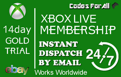 Xbox Live 1 Month Gold Trial Membership - 2 x 14 Day Codes INSTANT DISPATCH 24/7