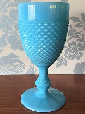 PORTIEUX VALLERYSTHAL BLUE MILK GLASS OPALINE HOBNAIL GOBLET Up To 6 Available
