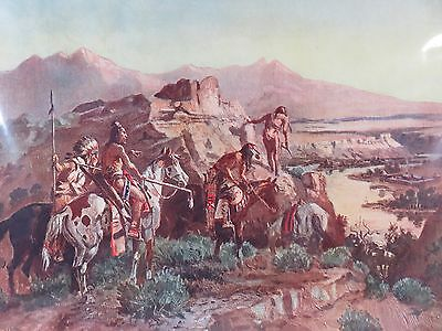 Vintage Charles M. Russell Print, Planning the Attack, Brown & Bigelow, pre 1930