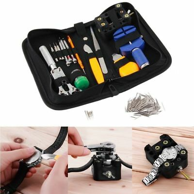 144 Pcs Watchmaker Watch Repair Tool Kit Back Case Opener Remover Spring Pin EH