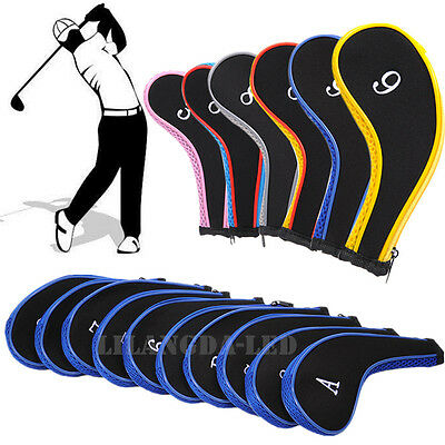 Set of 10Pcs Golf Iron Headcover Golf Club Cover Sleeve Protective Zipper Case