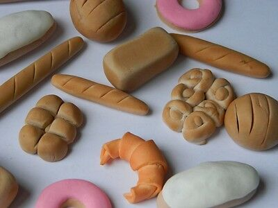 12 edible 3D BAKERY BREAD THEMED CUPCAKE cake topper DECORATION LOAF bun ROLL