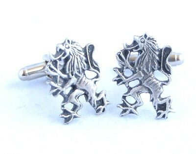 Lion Rampant Cufflinks in Fine English Pewter, gift boxed (hin)