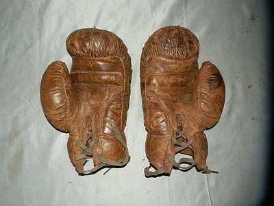 Antique English Brown Leather  Boxing Gloves.
