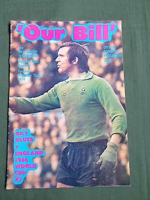 BILL GLAZIER TESTIMONIAL MATCH -  PROGRAMME- COVENTRY vs ENGLAND WORLD CUP XI