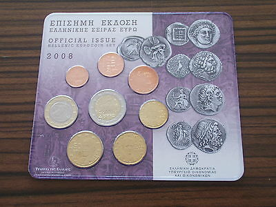 Griechenland 2008 Euro KMS ST 3,88 1 Cent - 2 Kursmünze Hellas BU Set Greece