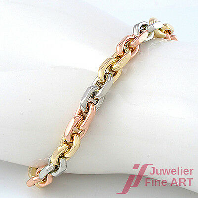 Ankerarmband Tricolor Massiv in 14K/585 Gelb/Weiß/Rotgold  - 38,2 g - 20 cm