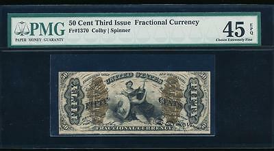 AC Fr 1370 $0.50 1864 fractional Third issue PMG 45 EPQ JUSTICE!