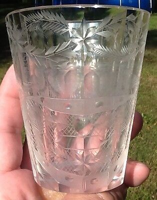 Cut & Engraved  Glass Tumbler Birds Hearts Quality Kingston Parish Mathews Va.
