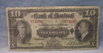 1938 Bank Of Montreal Ten Dollar Note