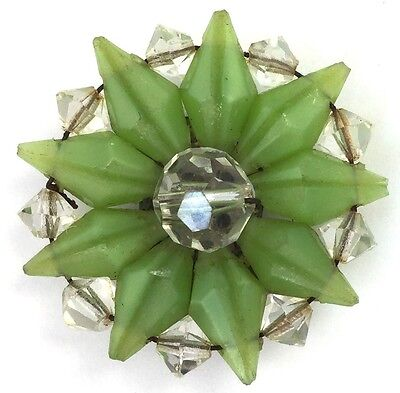 Vintage Art Deco Cluster Bead Green Clear Glass Dress Clip Beaded Jewelry