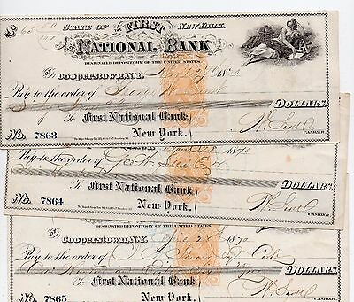 3 Coppertown New York Checks 1870 First National Bank Consective Numbers