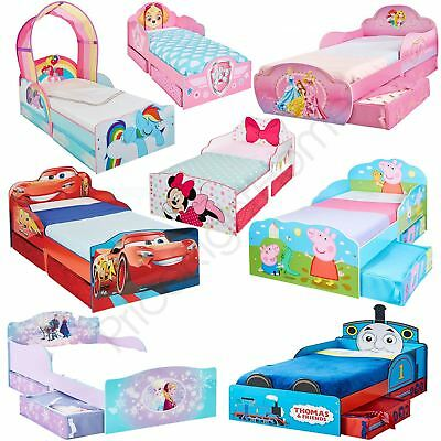 Disney Toddler Bed With Storage + Mattress - Cars, Peppa, Minnie, Frozen & More