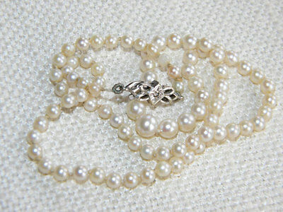 Art Deco Cultured PEARLS necklace 9ct White Gold clasp ~ diamond chip ~