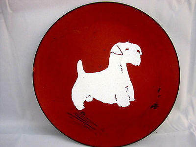 Sealyham Terrier by Valleau Enameled Copper Plate Dog Breed Vintage Collectors