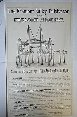 Fremont Sulky Cultivator Broadside,early, Agriculture, Horse Drawn