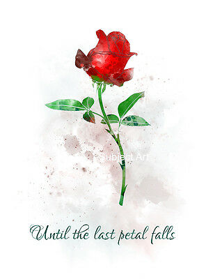 ART PRINT Beauty and the Beast Quote illustration, Disney, Enchanted Rose, Gift