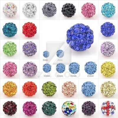 5/20pcs Crystal Disco Ball Bead Clay Pave Rhinestone Necklace 6/8/10/12/16/20mm