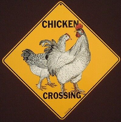 CHICKEN CROSSING SIGN aluminum decor painting rooster picture birds home novelty