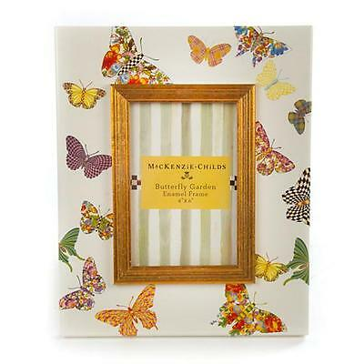 "MACKENZIE CHILDS AMAZING BUTTERFLY GARDEN 4X6 ENAMEL FRAME BRAND NEW BOX 9""x11"""