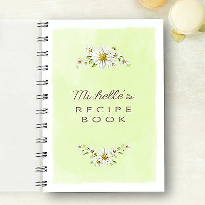 Personalised Recipe notebook Daisy Recipe Journal, Foodie Cooks Lovely Gift
