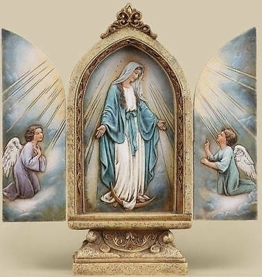 """9"""" MARY & ANGELS OUR LADY OF GRACE STATUE TRYPTYCH Grotto Doors Open ~NICE!"""