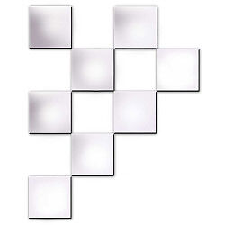 Innova 8 Pack Square Mirror Tiles with Self Adhesive Pads 6 x 6