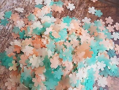 Dark Mint,peach And Ivory Cherry Flower Confetti Wedding/throwing/eco.2 Handfuls