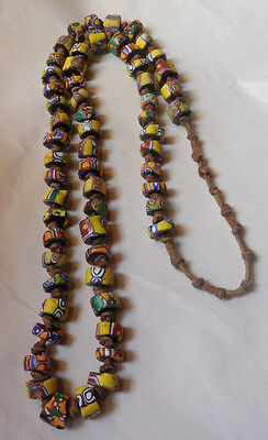 Vintage African Yellow Glass Black Hearts Trade Beads Knotted Leather Necklace