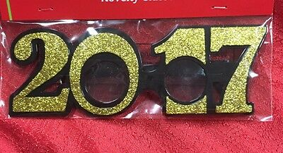 2017 Graduation New Year Wedding Photo Booth Prop Party Glasses Gold Glitter