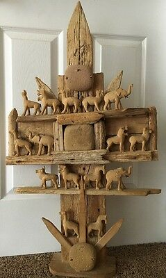 Unique Folk Art Wood & Stone Hand Carved Circus Animals Large- Old
