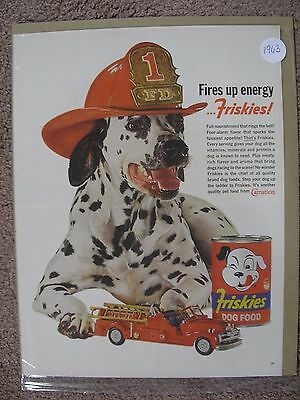 1963 Dalmatian Fire Dept Friskies  Large Full Page Color Ad Free Shipping