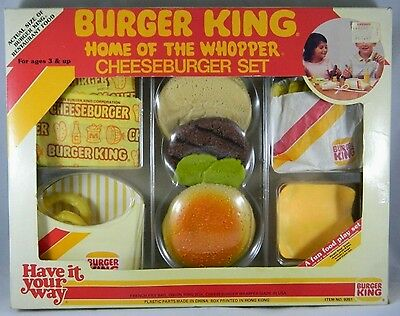 Vintage 1987 Burger King Home of Whopper Cheeseburger Realistic Play Food Set BK