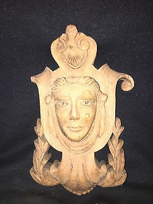 "1940's 10 1/4"" Carved Wood Pediment W/female Head"