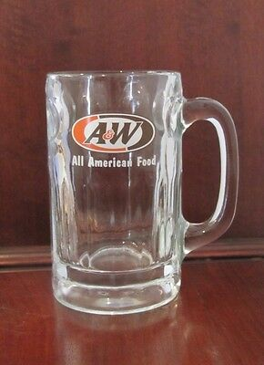 """Heavy A&W Root Beer """"All American Food"""" Clear Glass Mug Cup Stein"""
